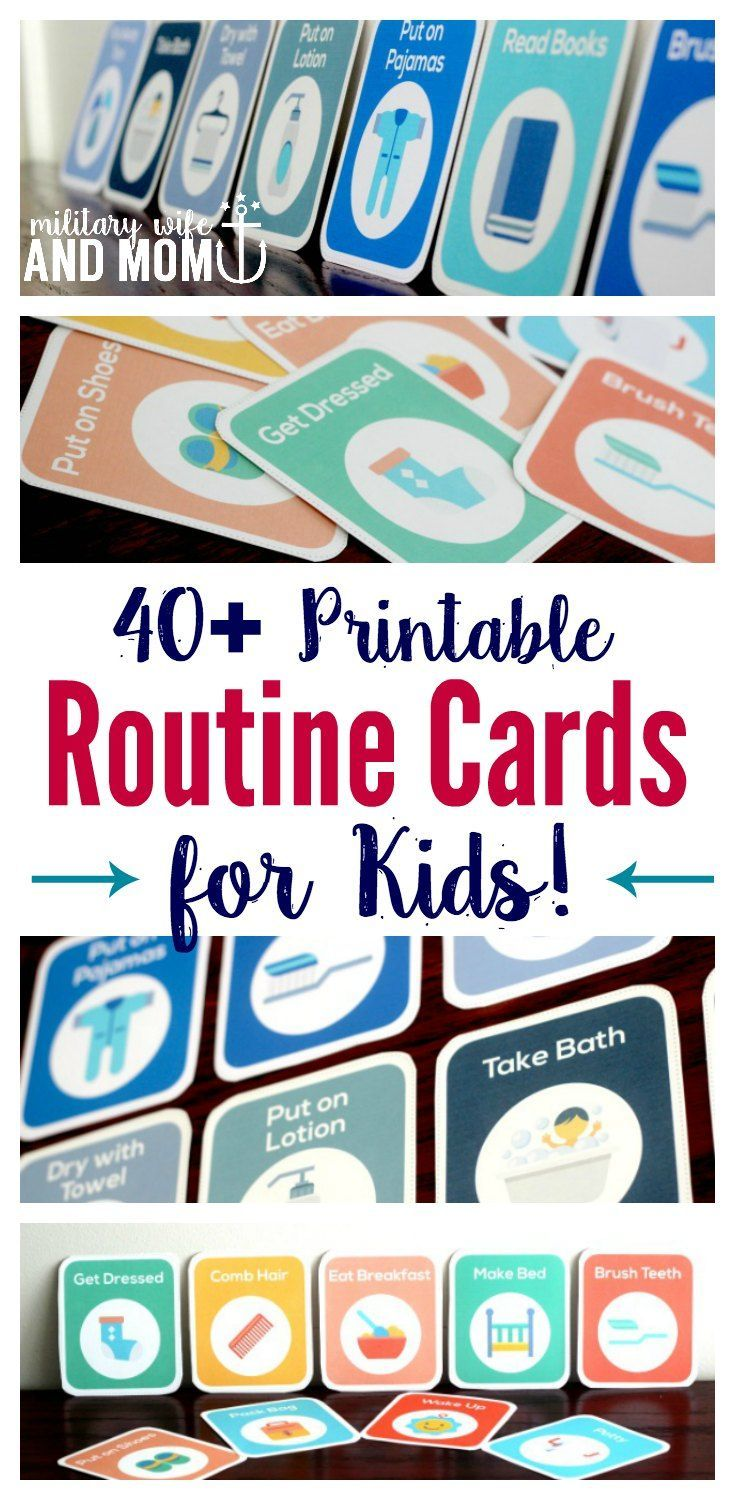 Awesome! Printable routine cards for kids. Great if you're looking for a visual schedule to use as a toddler routine or preschooler routine chart. Perfect for stay home moms who want to create a stay at home mom schedule or toddler schedule using printable routine cards. via /lauren9098/