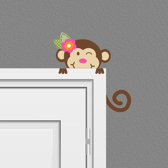 Safari Peeking Monkey Wall Decal Children on Etsy, $16.30 CAD this could be a kitten or a puppy peeking out
