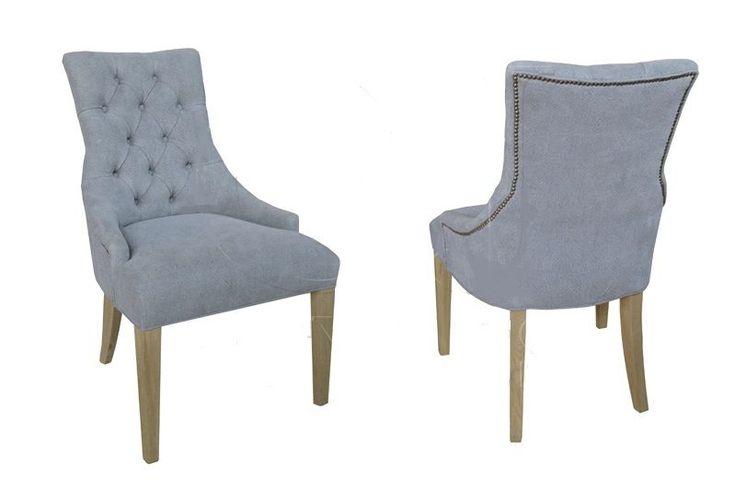 French blue chair tufted back hardwood frame handmade new