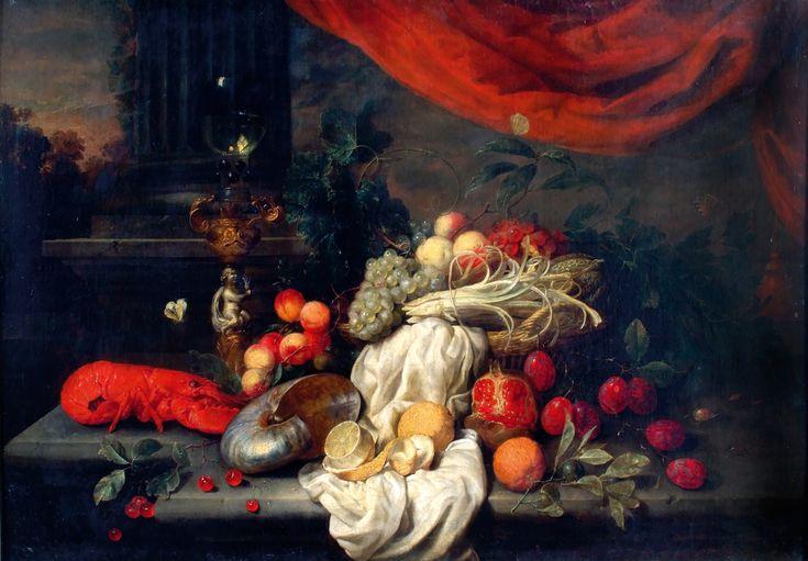 """""""Nature morte d'apparat à la colonne"""" peinte par Joris Van Son vers 1662."""