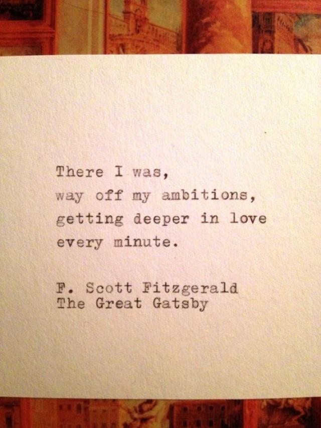 The Great Gatsby Quote getippt auf Schreibmaschine