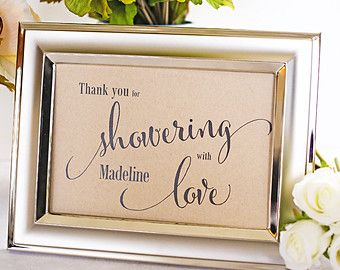Favor Table Sign, Bridal Shower Decoration, Baby Shower Signage, Gift Table, Thank You for Showering With Love - Size 5 x 7 (CAN - SIGN)