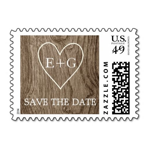 Heart with initials on wood rustic wedding Save the Date postage stamp. #SavetheDate, #wood, #rustic, #wedding, #wooden, #heart, #initials, #postagestamp, #stamp See more designs http://www.zazzle.com/weddings_?rf=238228936251904937=zBookmarklet