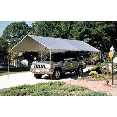 """10' x 20' 6-Leg King Canopy by King Canopy. $169.78. Great for protecting vehicles against sun and rain, also cookouts and for storage6 legged 1 3/8"""" Gray powder coated frameSilver Cover10 ft. 8 in. W x 20 ft. LSide Height: 5 ft. 10 in.Center Height: 8 ft. 11 in.. KMK1PCS  Start protecting your valuables with canopies that provide shade and climate control while exhibiting strength and durability. The 6-Leg King Canopy is strong, portable and affordable. The King Canop..."""