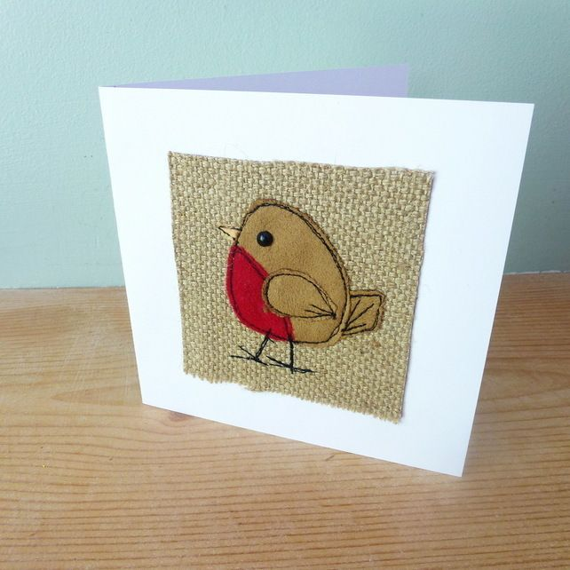 Applique Robin textile card
