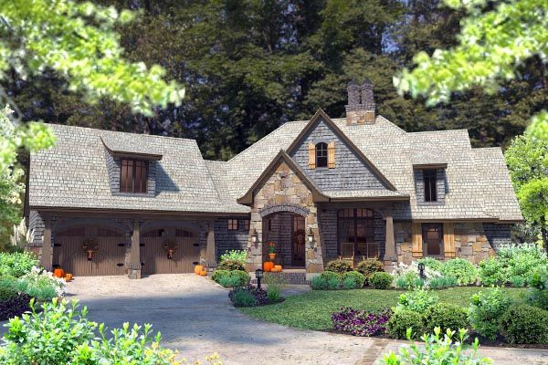 Elevation of Cottage   Craftsman   French Country   House Plan 75134