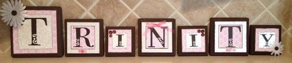 baby name letter blocks, personalized/custom baby name letters, baby gift, girl nursery decor, kid /child wall art, pink, brown, name sign on Etsy, $12.00