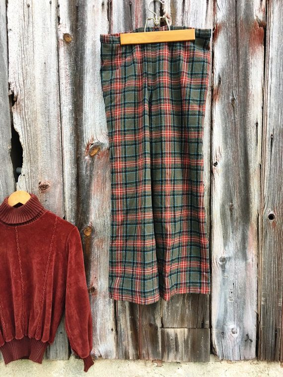 Vintage Pendleton Wool Pants Olive and Peach Plaid by 2cutevintage