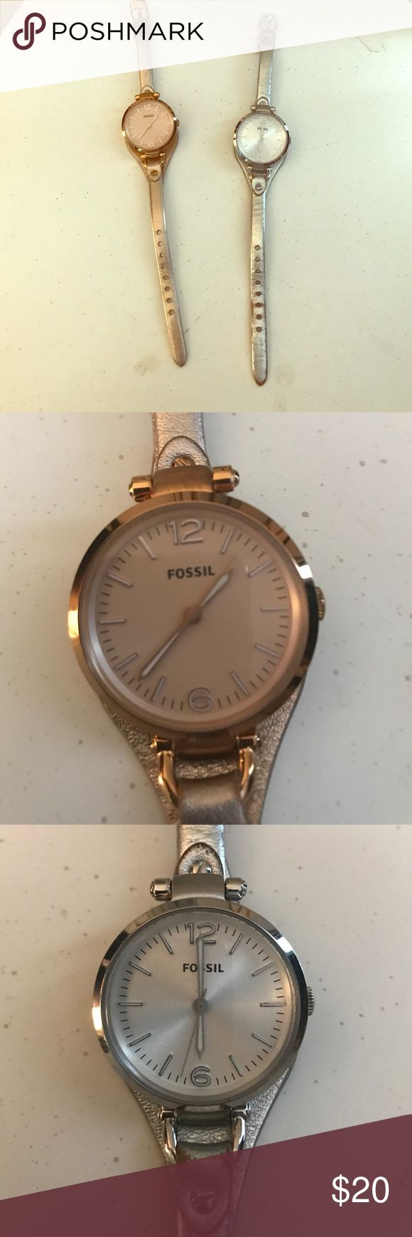 Fossil watches Fossil watches with leather bands. One rose gold one silver. They do have wear on the watch bands and will need new batteries Fossil Accessories Watches