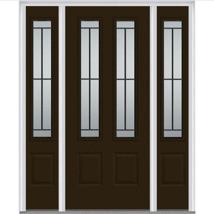Milliken Millwork 64.5 in. x 81.75 in. Madison Decorative Glass 2 Lite Painted Majestic Steel Exterior Door with Sidelites, Brown