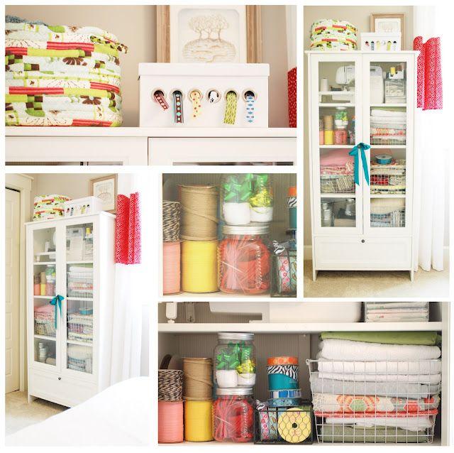 Craft Cabinet {Mini Manor} via www.craftstorageideas.com