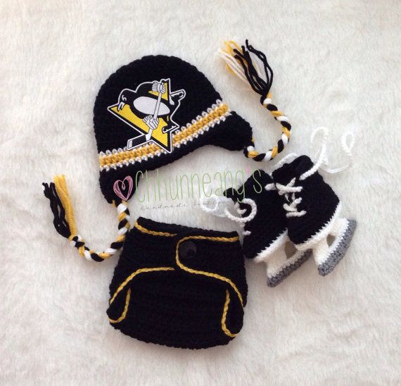 Baby Crochet Hockey Earflap Hat Set in Pittsburgh Penguins inspired, Made to Order on Etsy, $51.00