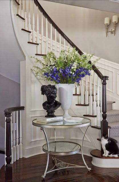 1003 best foyer and stairway images on pinterest entry for Furniture for curved wall in foyer