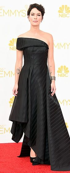Nominee Lena Headey looked gorgeous in a black satin draped gown by Rubin Singer at the 2014 Emmys.