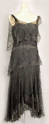 Beaded Silk Chiffon Dress - c.1925 - Made in France - Hand beaded - @Mlle