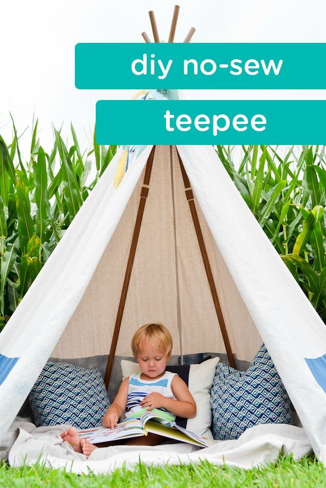 If your little ones loves to read and explore their imaginations outdoors, then you may want to consider creating an inviting and cozy space that could allow them to do both. This DIY no-sew teepee could be just what you're looking for.