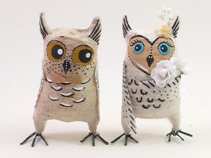 Vintage Style Spun Cotton Owls in Love Wedding Figures/Ornaments by VintagebyCrystal on Etsy https://www.etsy.com/listing/181764413/vintage-style-spun-cotton-owls-in-love