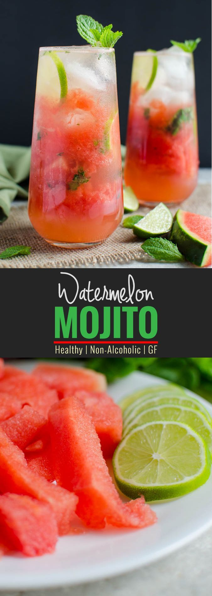 Watermelon Mojito Recipe- Give refreshing twist to fresh watermelons. It is healthy, naturally sweetened and non-alcoholic drink. Can easily turned into alcoholic drink if you want to | watchwhatueat.com (refreshing alcoholic drinks kids)