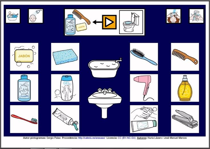 MATERIALES - Tableros de Comunicación de 12 casillas.    Tablero de comunicación de doce casillas sobre objetos del aseo.     http://arasaac.org/materiales.php?id_material=224