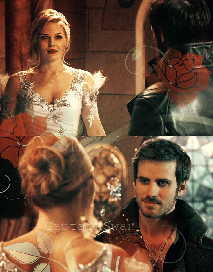 "The Princess and the Pirate. Jennifer Morrison as Emma Swan and Colin O'Donoghue as Captain Hook from the TV Show ""Once Upon a time""."