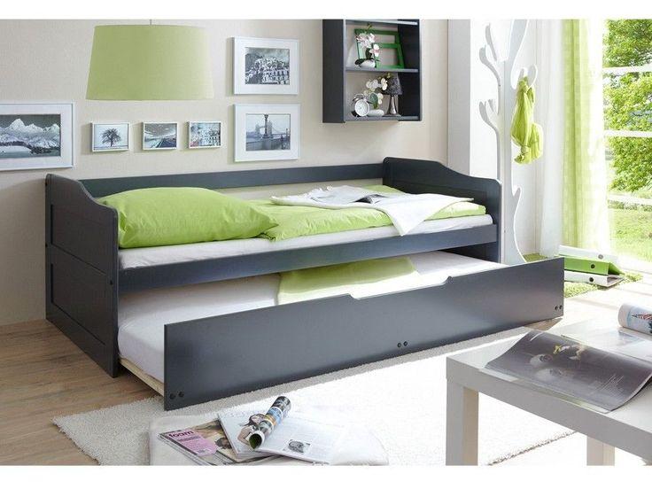 Letto singolo in legno estraibile secondo letto in legno colore grigio scuro | mobiliarredoline