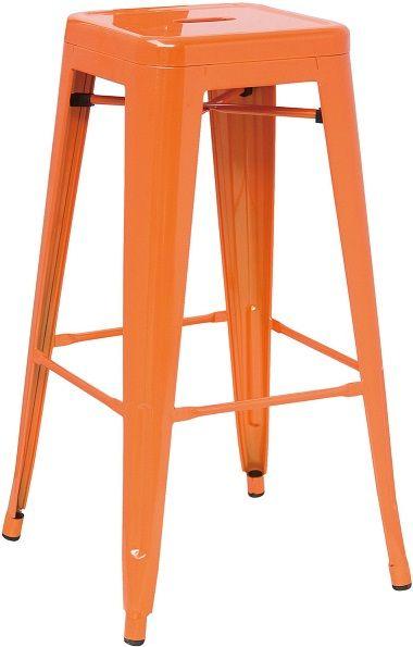 Hasonay Kitchen Bar Stool Orange Metal Frame Fixed Height Retro Industrial Style…