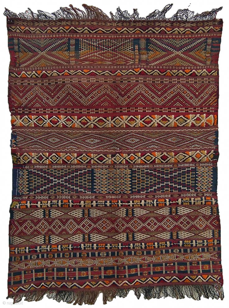 Cushion cover, a splendid example of intricate weaving and design variations by the Zemmour, Berber people, Middle Atlas, Morocco.  Wool, 95x67cm, circa: 1900-1910.