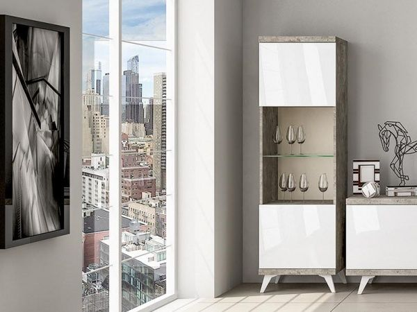 Lugano, modern display unit in white high gloss and cement finish