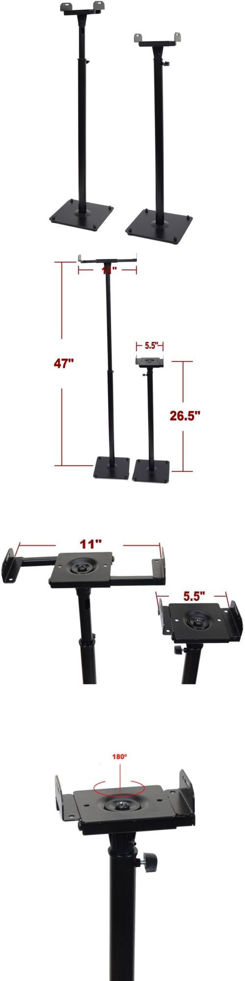 Speaker Mounts and Stands: (2) Heavy Duty Side Clamp Speaker Mount Surround Sound Bookshelf Floor Stand M99 BUY IT NOW ONLY: $37.9