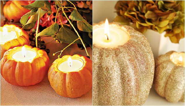 Thanksgiving table decor pumpkin candle holders