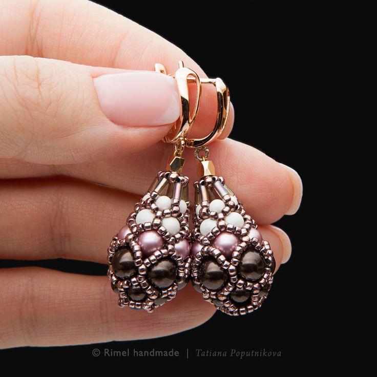Купить «Rosewood Faberge» серьги. Жемчуг Swarovski, японский бисер - серьги золотые, Серьги капли