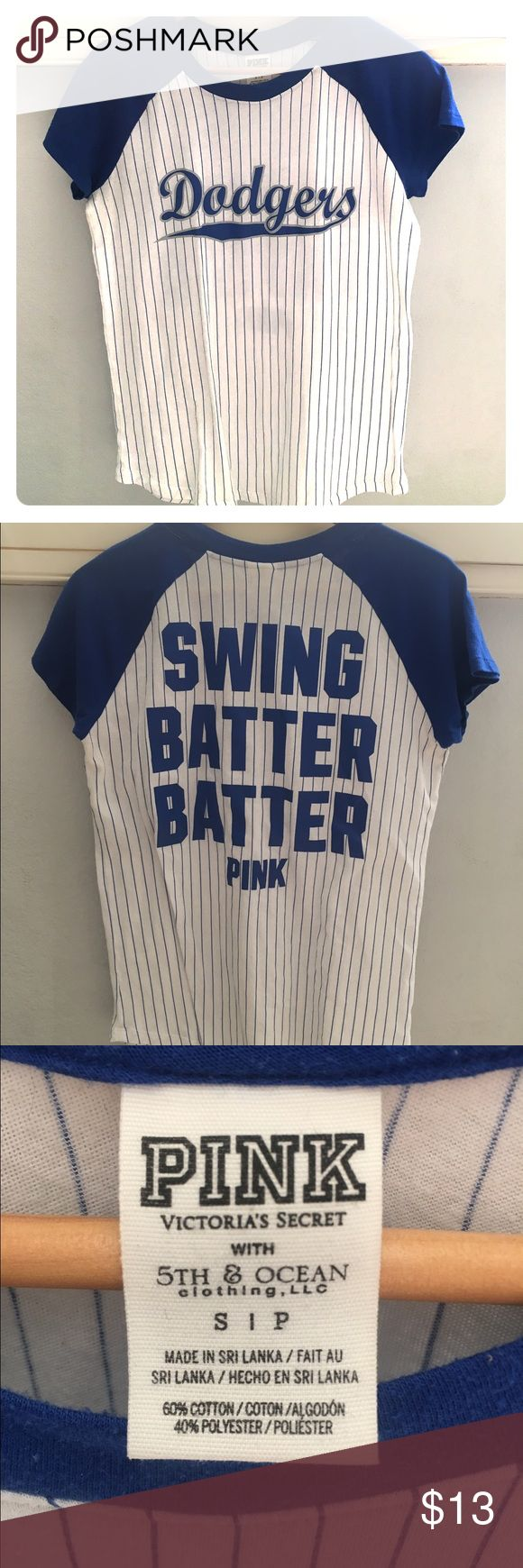 Dodgers Shirt Cute blue and white dodgers baseball t-shirt by PINK PINK Victoria's Secret Tops Tees - Short Sleeve