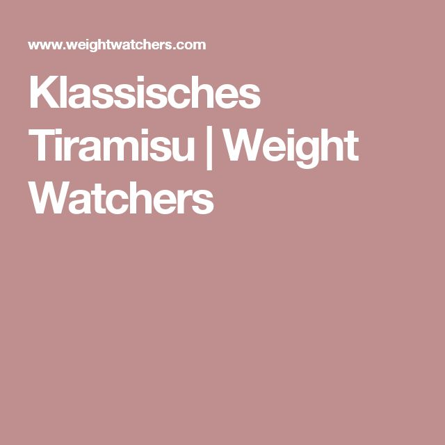 Klassisches Tiramisu | Weight Watchers