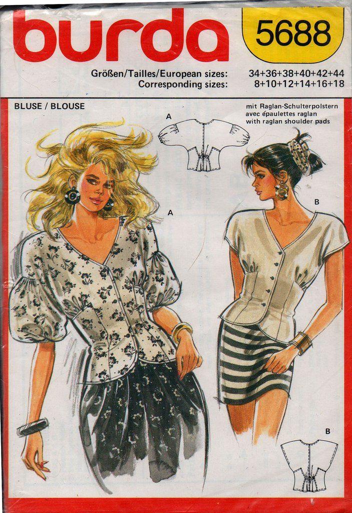 Burda 5688 Womens Puff Sleeved Peplum Tops Pattern Sizes 8 - 20 UNCUT Factory Folded