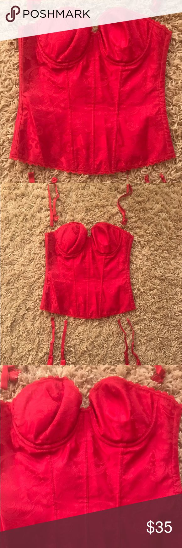 Frederick's Hollywood Red Floral Brocade Corset 34 Frederick's of Hollywood Red Floral Brocade Corset. Size 34. Previously owned condition. Optional garter straps and shoulder straps included. Padded.  Strapless option.  So feminine! Offers considered. Frederick's of Hollywood Intimates & Sleepwear