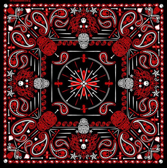 Red Paisley Skulls BIKER BANDANA  #Bandana