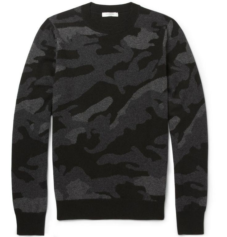 ValentinoCamouflage Intarsia Cashmere Sweater|MR PORTER
