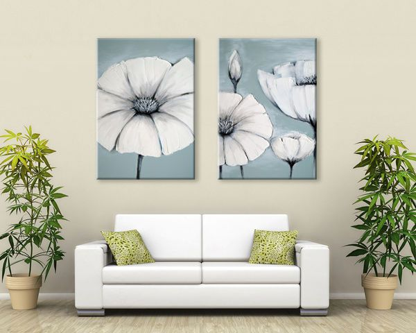 Zen Canvas Wall Art Duck Egg Blue /green /white Grey Japanese Flowers New  Print