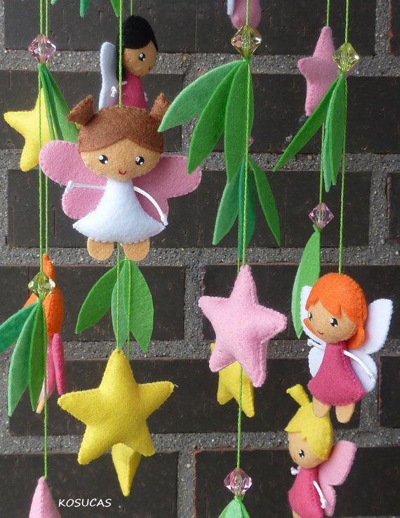 Felt mobile with fairies