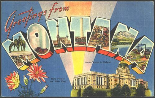 1940s Large Letter Greetings from Montana State Vintage Postcard