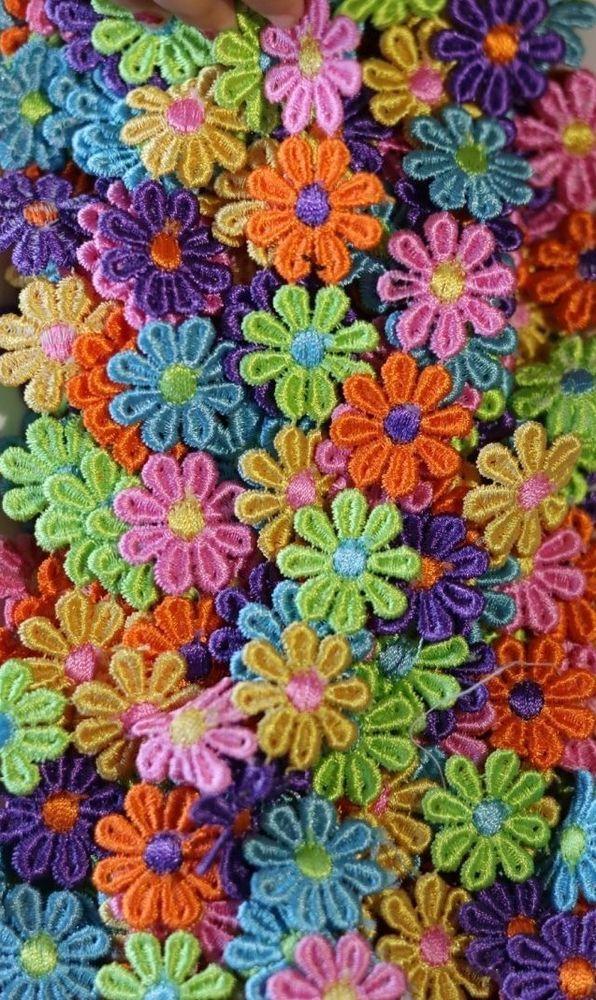 12 pcs  24 pcs  Guipure Lace Daisy Motifs Sew On Flower Applique Patch