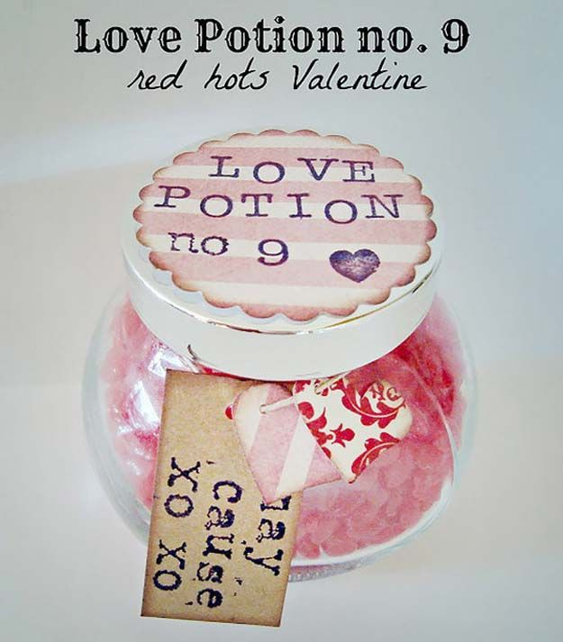 Best Mason Jar Valentine Crafts - Love Potion No. 9 Red Hots Valentine - Cute Mason Jar Valentines Day Gifts and Crafts | Easy DIY Ideas for Valentines Day for Homemade Gift Giving and Room Decor | Creative Home Decor and Craft Projects for Teens, Teenagers, Kids and Adults http://diyprojectsforteens.com/mason-jar-valentine-crafts