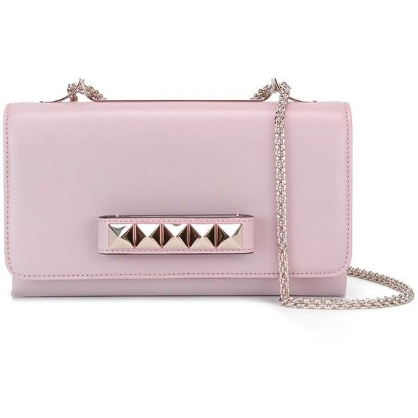 Valentino Va Va Voom Shoulder Bag (6.546.410 COP) ❤ liked on Polyvore featuring bags, handbags, shoulder bags, leather shoulder bag, pink leather purse, pink shoulder bag, pink handbags and pink purse