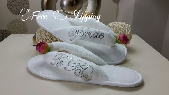 FREE SHIPPING Brides Wedding Slippers Honeymoon by LAMEDORE