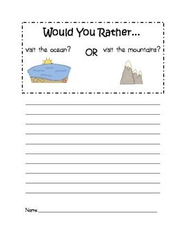 Would You Rather? Opinion Writing Prompts  Could do this with real pictures
