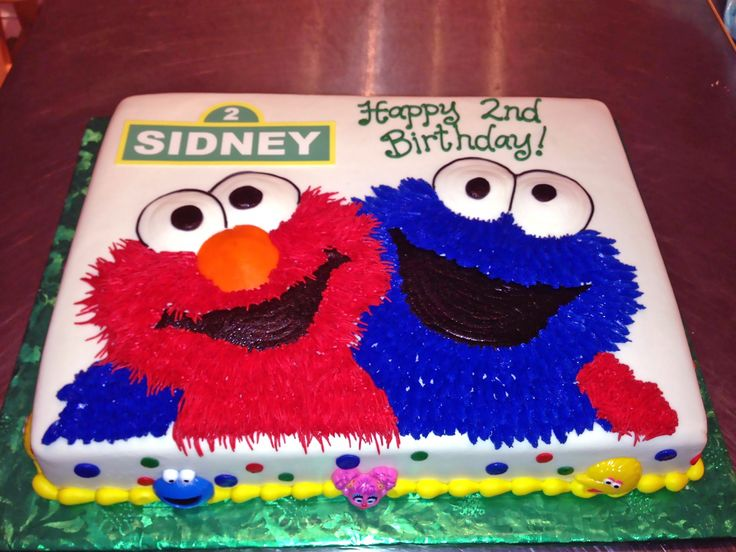 2nd Birthday Cake Cookie Monster Elmo Kids Sesame