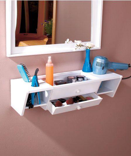 Bath Vanity Shelf, White, Wall Mounted, Bathroom Storage and Decor Makeup Tools #Contemporary
