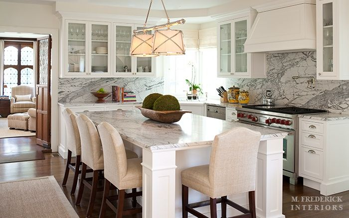 kitchen stools, bar stools, kitchen benchtop, marble, white kitchen/    Love this island which functions as both a table and cabinset with storage.
