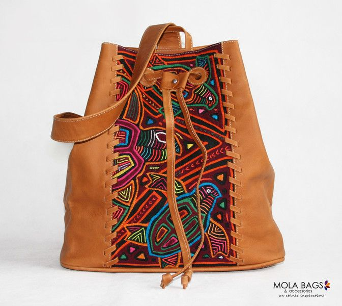 Backpacks – Small Leather Backpack with Textil Mola – a unique product by MolaBags on DaWanda