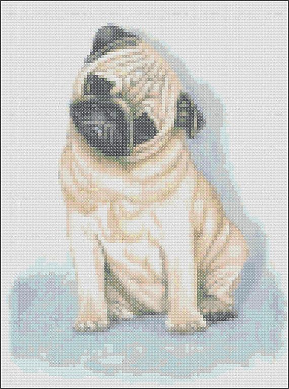 Cross Stitch Chart  Pug 6 by solnaoriginals on Etsy, $6.00